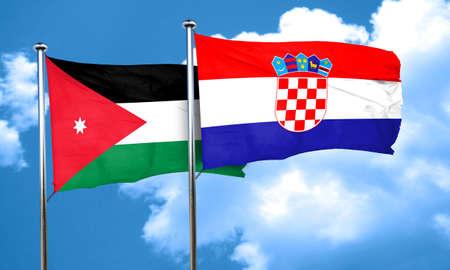 bandera croacia: Bandera de Jordania con la bandera de Croacia, 3D