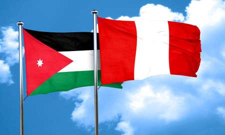 bandera de peru: Bandera de Jordania con la bandera Per�, 3D Foto de archivo
