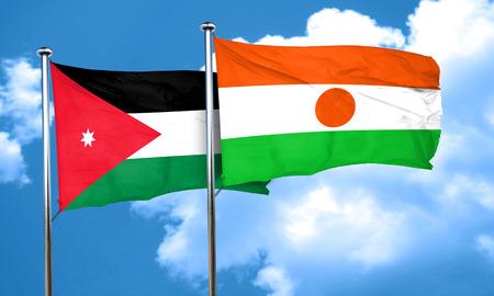 jordan: Jordan flag with Niger flag, 3D rendering