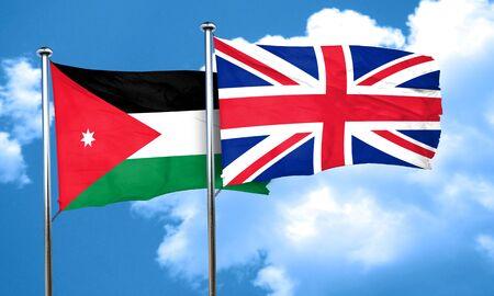 britain flag: Jordan flag with Great Britain flag, 3D rendering