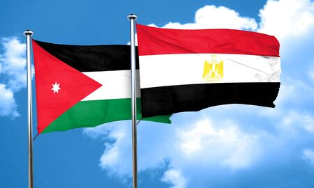 flag of egypt: Jordan flag with egypt flag, 3D rendering