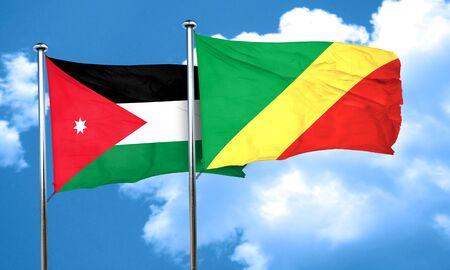 congo: Jordan flag with congo flag, 3D rendering Stock Photo
