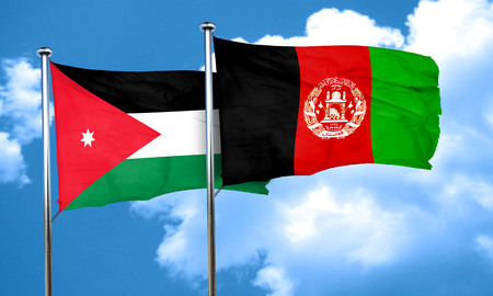 Jordan flag with afghanistan flag, 3D rendering Stock Photo