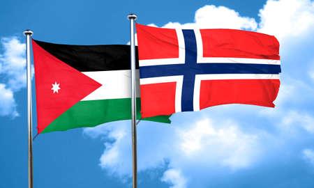 norway flag: Jordan flag with Norway flag, 3D rendering Stock Photo