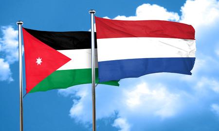 netherlands flag: Jordan flag with Netherlands flag, 3D rendering Stock Photo