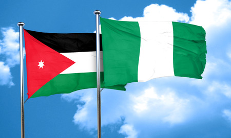 jordan: Jordan flag with Nigeria flag, 3D rendering