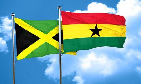 Bandiera Jamaica con il Ghana la bandiera, il rendering 3D Archivio Fotografico - 58010532