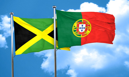 drapeau portugal: Jamaica flag with Portugal flag, 3D rendering Banque d'images