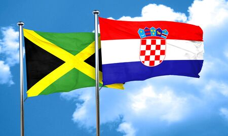 croatia: Jamaica flag with Croatia flag, 3D rendering