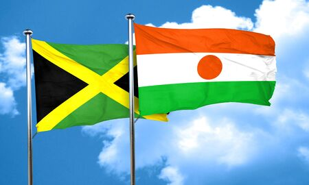 niger: Jamaica flag with Niger flag, 3D rendering