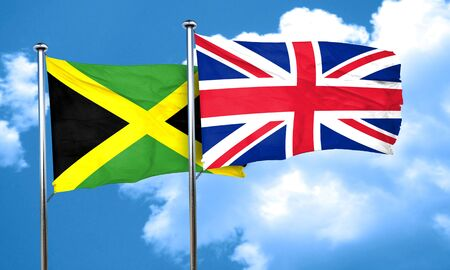 britain flag: Jamaica flag with Great Britain flag, 3D rendering