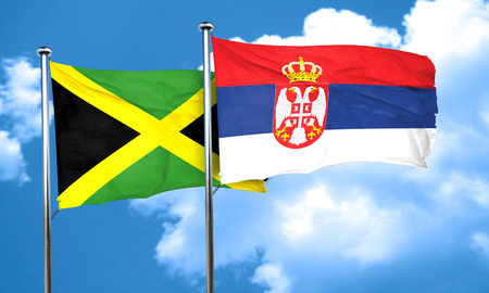 serbia flag: Jamaica flag with Serbia flag, 3D rendering