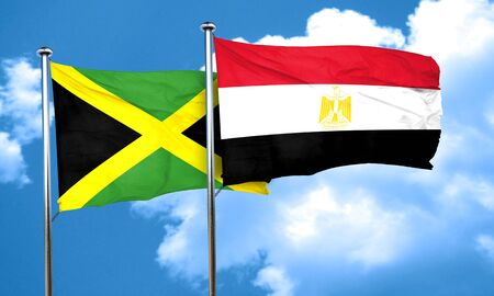 egypt flag: Jamaica flag with egypt flag, 3D rendering