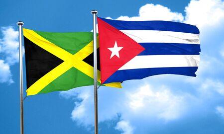 cuba flag: Jamaica flag with cuba flag, 3D rendering