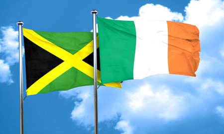 ireland flag: Jamaica flag with Ireland flag, 3D rendering