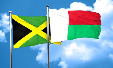 madagascar: Jamaica flag with Madagascar flag, 3D rendering