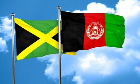 Jamaica flag with afghanistan flag, 3D rendering