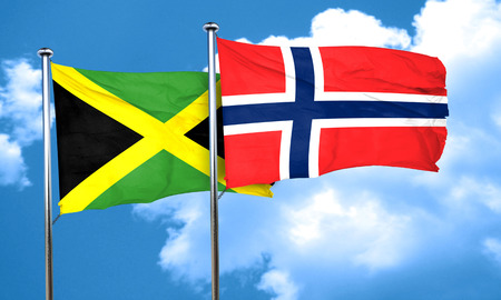 norway flag: Jamaica flag with Norway flag, 3D rendering Stock Photo