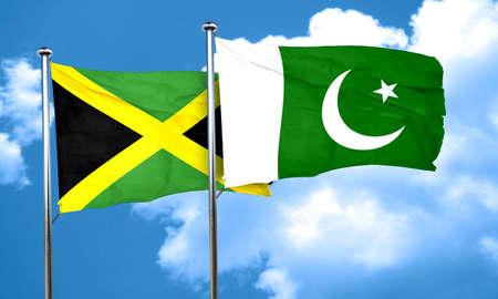 pakistan flag: Jamaica flag with Pakistan flag, 3D rendering