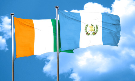 bandera de guatemala: bandera de Costa de Marfil con la bandera de Guatemala, 3D