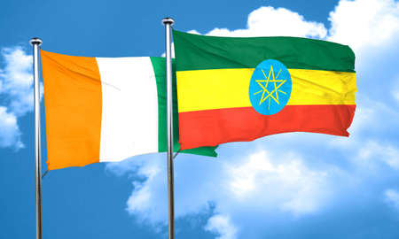 ivory: Ivory coast flag with Ethiopia flag, 3D rendering