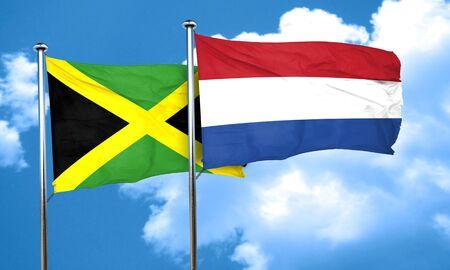 netherlands flag: Jamaica flag with Netherlands flag, 3D rendering