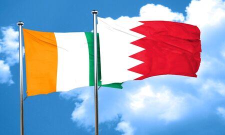 bahrain: Ivory coast flag with Bahrain flag, 3D rendering