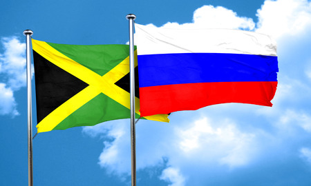 russia flag: Jamaica flag with Russia flag, 3D rendering Stock Photo