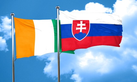 slovakia flag: Ivory coast flag with Slovakia flag, 3D rendering