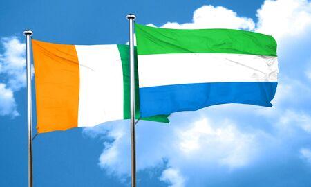 sierra: Ivory coast flag with Sierra Leone flag, 3D rendering