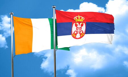 serbia flag: Ivory coast flag with Serbia flag, 3D rendering Stock Photo
