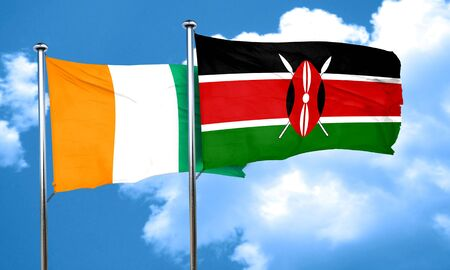 ivory: Ivory coast flag with Kenya flag, 3D rendering Stock Photo