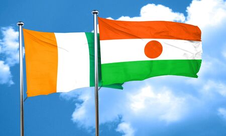 ivory: Ivory coast flag with Niger flag, 3D rendering Stock Photo