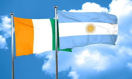 argentine: Ivory coast flag with Argentine flag, 3D rendering