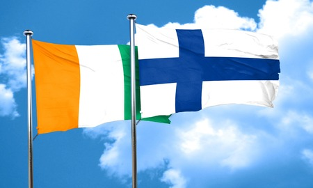 coast: Ivory coast flag with Finland flag, 3D rendering Stock Photo