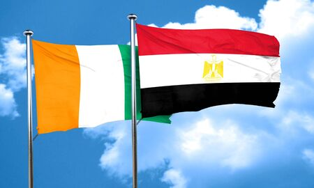 egypt flag: Ivory coast flag with egypt flag, 3D rendering