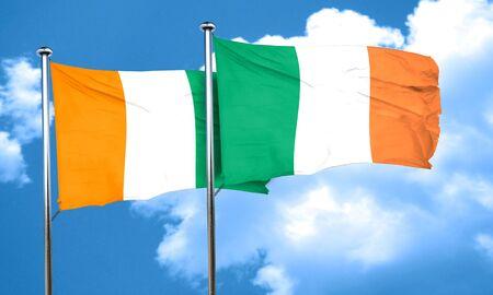 bandera de irlanda: bandera de Costa de Marfil con la bandera de Irlanda, 3D
