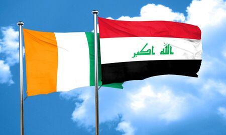 iraq flag: Ivory coast flag with Iraq flag, 3D rendering