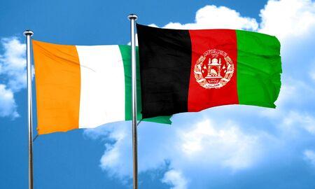 afghanistan flag: Ivory coast flag with afghanistan flag, 3D rendering