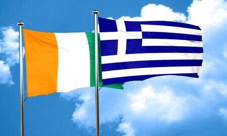 greece flag: Ivory coast flag with Greece flag, 3D rendering