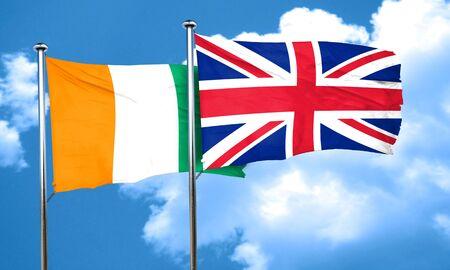 bandera de gran bretaña: bandera de Costa de Marfil con la bandera de Gran Bretaña, 3D
