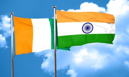 coast: Ivory coast flag with India flag, 3D rendering Stock Photo