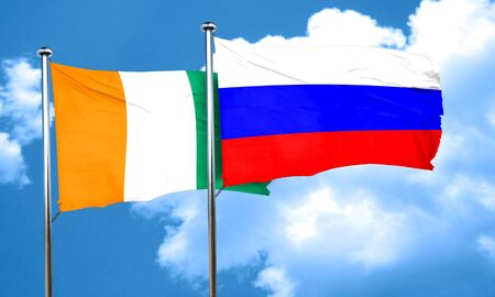 russia flag: Ivory coast flag with Russia flag, 3D rendering