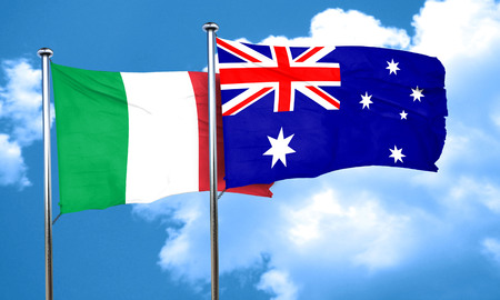 italian politics: Italy flag with Australia flag, 3D rendering