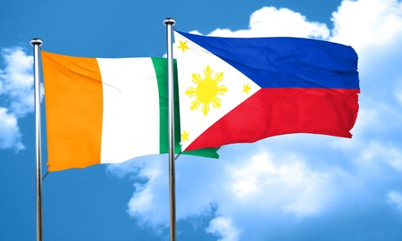 philippino: Ivory coast flag with Philippines flag, 3D rendering Stock Photo
