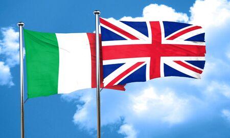 bandera de gran bretaña: Bandera de Italia con la bandera de Gran Bretaña, 3D