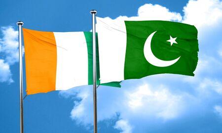 pakistan flag: Ivory coast flag with Pakistan flag, 3D rendering