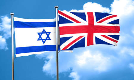 british culture: Israel flag with Great Britain flag, 3D rendering Stock Photo