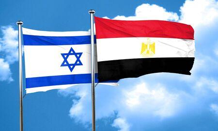 israel flag: Israel flag with egypt flag, 3D rendering