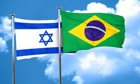 israel flag: Israel flag with Brazil flag, 3D rendering